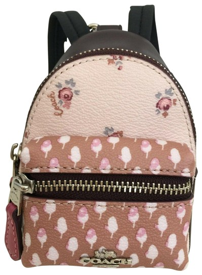Coach COACH Key Chain Floral Mini Backpack Key Fob Ring Charm Light Pink Image 0