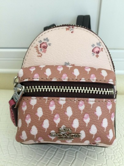 Coach COACH Key Chain Floral Mini Backpack Key Fob Ring Charm Light Pink Image 1