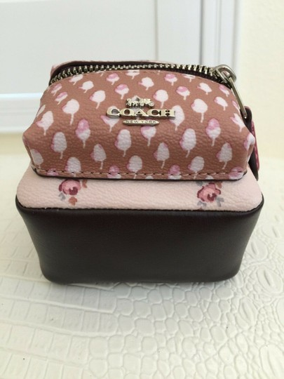 Coach COACH Key Chain Floral Mini Backpack Key Fob Ring Charm Light Pink Image 2