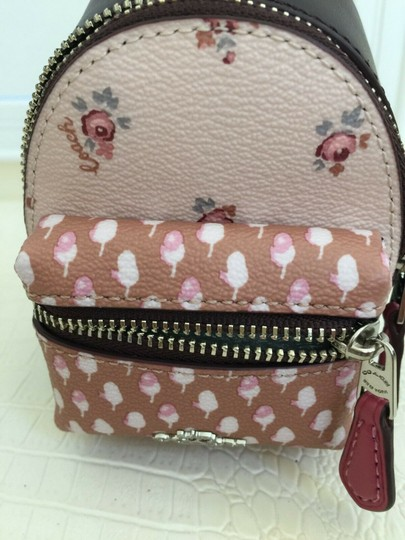 Coach COACH Key Chain Floral Mini Backpack Key Fob Ring Charm Light Pink Image 3