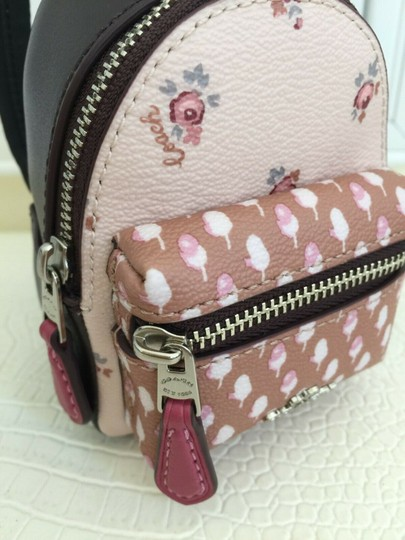Coach COACH Key Chain Floral Mini Backpack Key Fob Ring Charm Light Pink Image 5