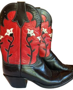 Lucchese Black/Red and white Boots