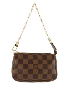 Louis Vuitton Damier Canvas Leather Gold Hardware Wristlet in Brown