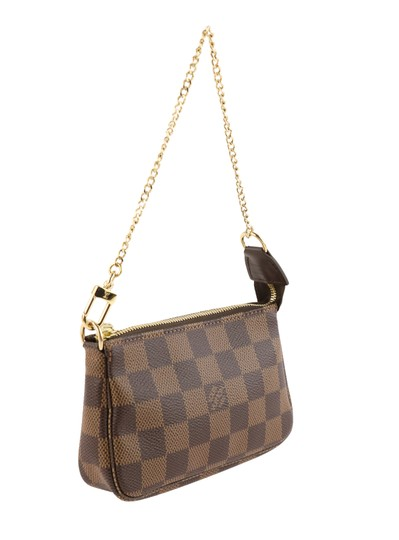 Louis Vuitton Damier Canvas Leather Gold Hardware Wristlet in Brown Image 1