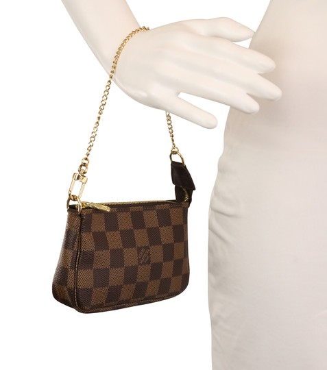 Louis Vuitton Damier Canvas Leather Gold Hardware Wristlet in Brown Image 10