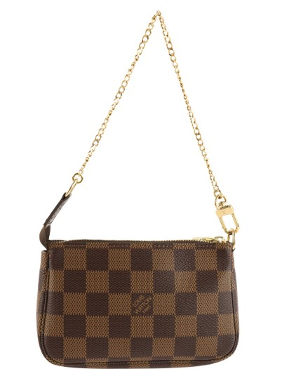 Louis Vuitton Damier Canvas Leather Gold Hardware Wristlet in Brown Image 2