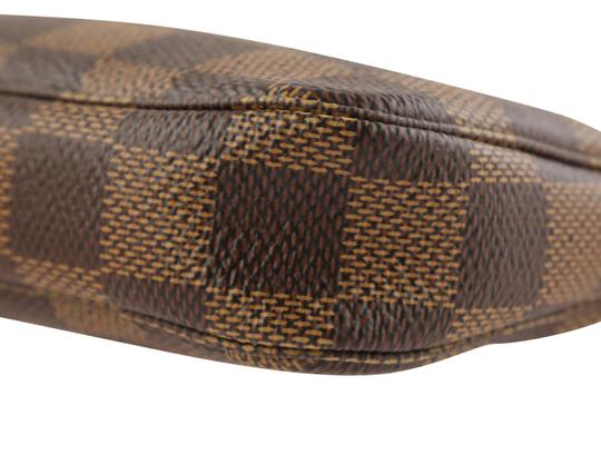 Louis Vuitton Damier Canvas Leather Gold Hardware Wristlet in Brown Image 4