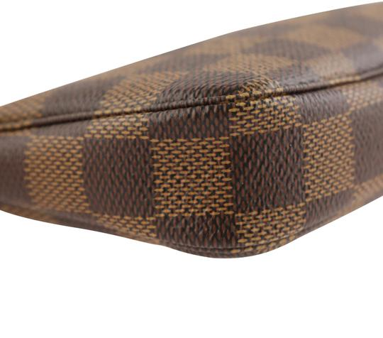 Louis Vuitton Damier Canvas Leather Gold Hardware Wristlet in Brown Image 5