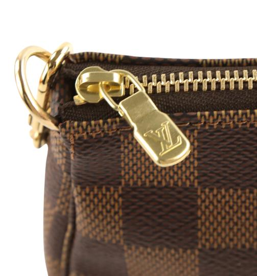 Louis Vuitton Damier Canvas Leather Gold Hardware Wristlet in Brown Image 6