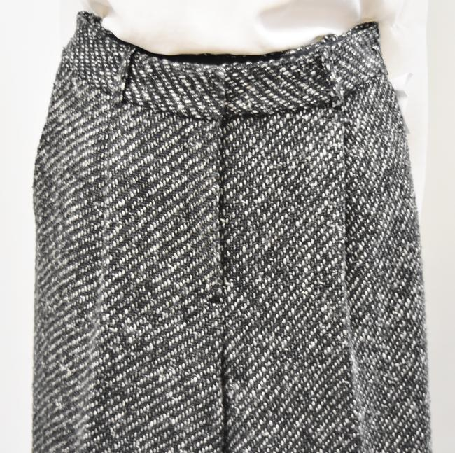 Theory Tweed Wide Leg Pleated Trouser Pants Black & White Image 1