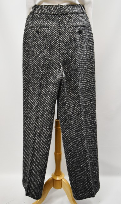 Theory Tweed Wide Leg Pleated Trouser Pants Black & White Image 2