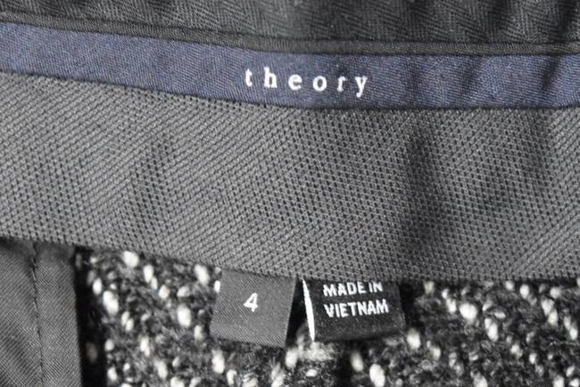 Theory Tweed Wide Leg Pleated Trouser Pants Black & White Image 7