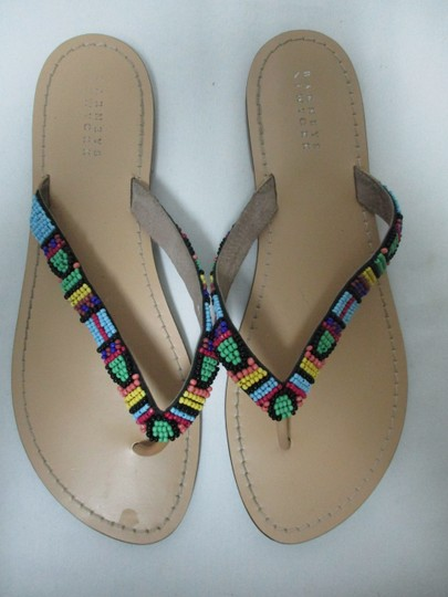Barneys New York Beaded Leather black green yellow Sandals Image 4