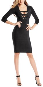 Guess By Marciano Gold Bandage Zipper V-neckline Dress