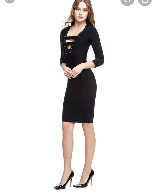 Guess By Marciano Gold Bandage Zipper V-neckline Dress Image 1