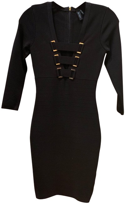 Guess By Marciano Gold Bandage Zipper V-neckline Dress Image 2