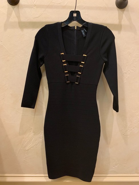 Guess By Marciano Gold Bandage Zipper V-neckline Dress Image 3