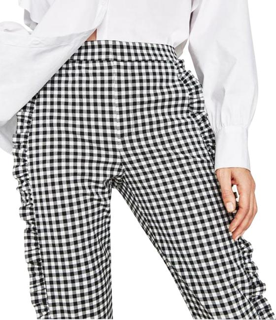 Item - Black White And Gingham Ruffles Pants Size 6 (S, 28)