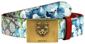 Gucci Blue Bloom Print Belt with Gold Tiger Buckle 95/38 546384 8492