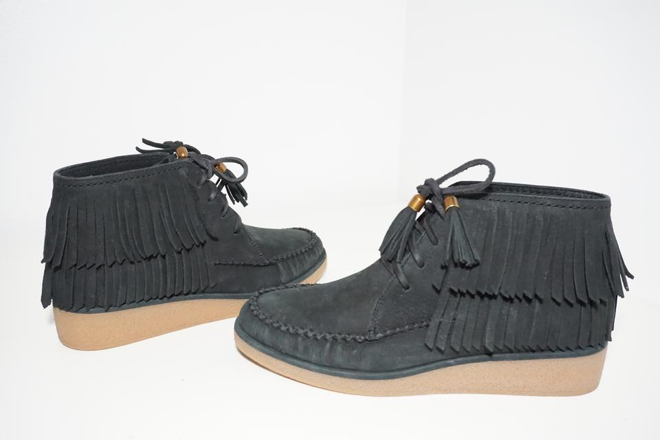 UGG Australia Black Caleb Leather Wedge Moc Toe Lace Up Fringe Nubuck BootsBooties Size US 6 Regular (M, B) 56% off retail
