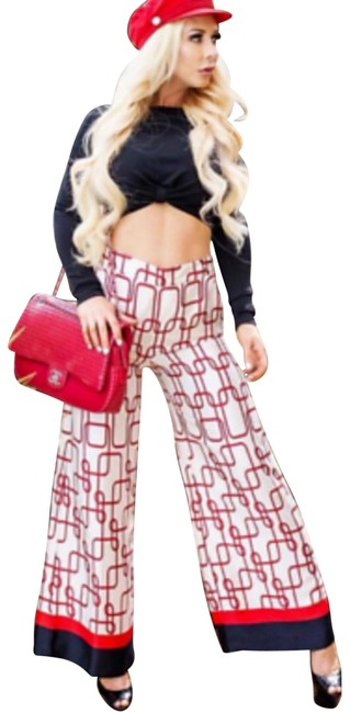 Item - Red XS New Knot Print Pants Size 0 (XS, 25)