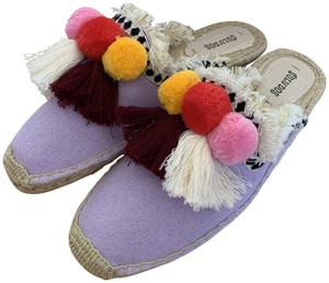 Soludos Canvas Tassels Espadrille Slides Lilac Mules
