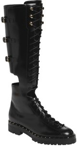 Valentino Leather Rockstud Combat Studded Black Boots