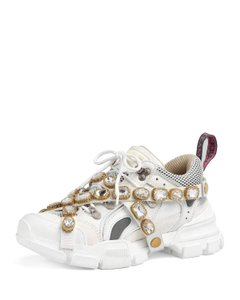 Gucci Logo Leather Crystal Sneakers White Athletic