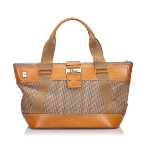 Dior 9hdrto004 Vintage Canvas Leather Tote in Brown