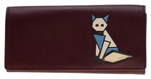 Tod's Bordeaux Leather Fox Detail Continental Wallet