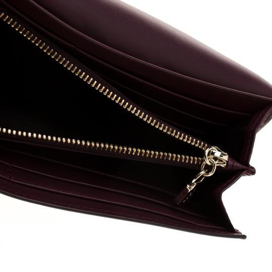 Tod's Bordeaux Leather Fox Detail Continental Wallet Image 1