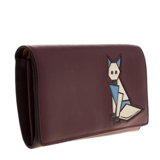 Tod's Bordeaux Leather Fox Detail Continental Wallet Image 2