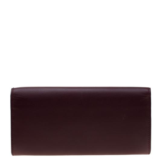 Tod's Bordeaux Leather Fox Detail Continental Wallet Image 4
