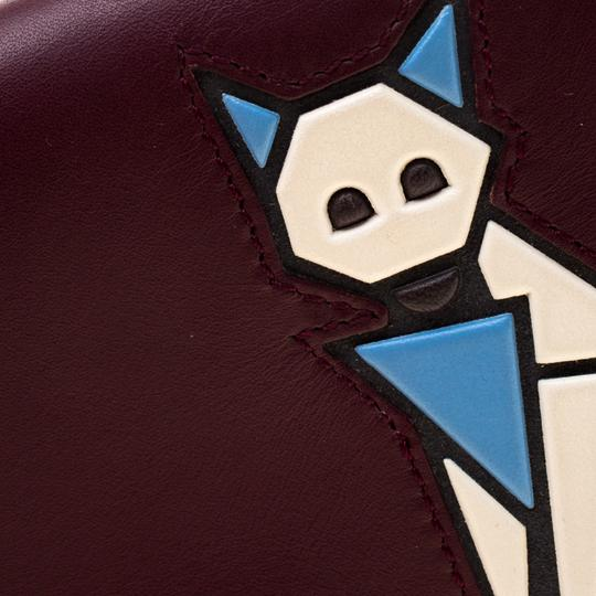 Tod's Bordeaux Leather Fox Detail Continental Wallet Image 5