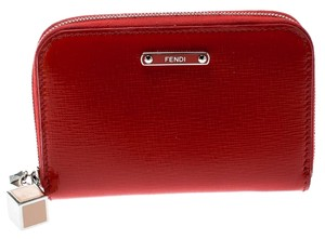 Fendi Red Patent Leather Zip Around Compact Wallet