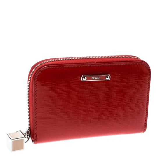 Fendi Red Patent Leather Zip Around Compact Wallet Image 1