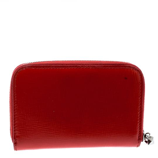Fendi Red Patent Leather Zip Around Compact Wallet Image 2