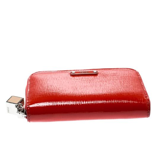 Fendi Red Patent Leather Zip Around Compact Wallet Image 3