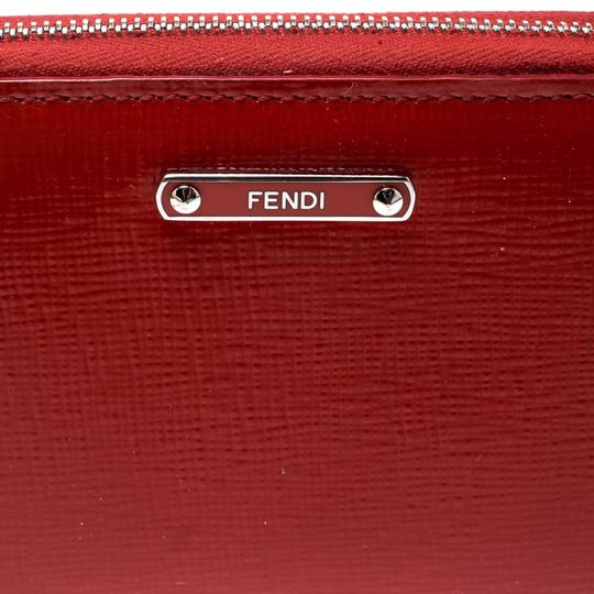 Fendi Red Patent Leather Zip Around Compact Wallet Image 5