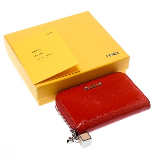 Fendi Red Patent Leather Zip Around Compact Wallet Image 7
