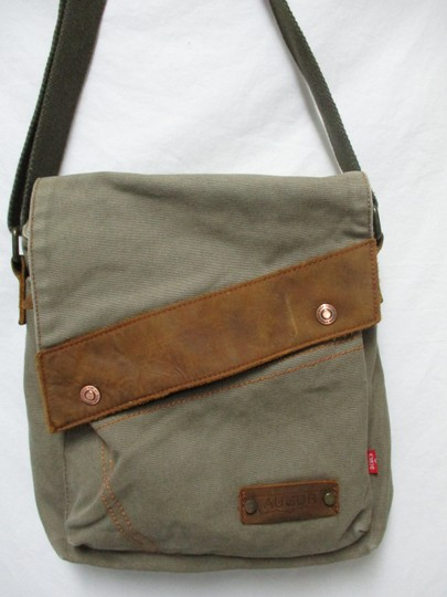 Augur Canvas Leather Crossbody brown Messenger Bag Image 2