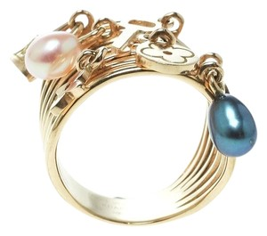 Louis Vuitton Cultured Pearl & Monogram Charm 18K Yellow Gold Cocktail Ring Size 51