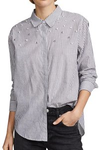 Rails Button Down Shirt Florence Stripe Pearled