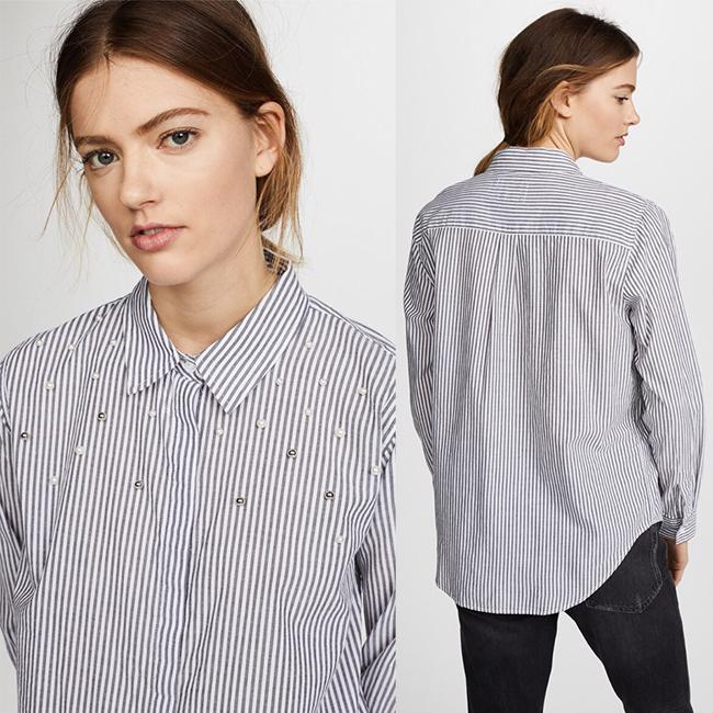 Rails Button Down Shirt Florence Stripe Pearled Image 1