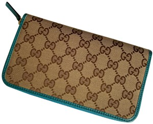 Gucci Gucci GG Logo Canvas Leather Zip Around Wallet