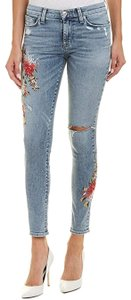 Hudson Embroidered Skinny Jeans-Medium Wash
