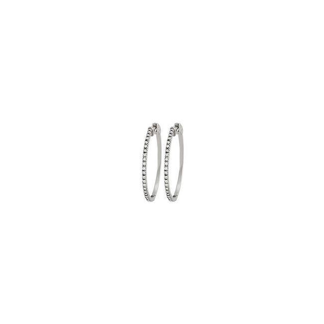 White Diamond Hoop For Women In 14k Gold 0.50 Ct Tdw - 10th Earrings White Diamond Hoop For Women In 14k Gold 0.50 Ct Tdw - 10th Earrings Image 1
