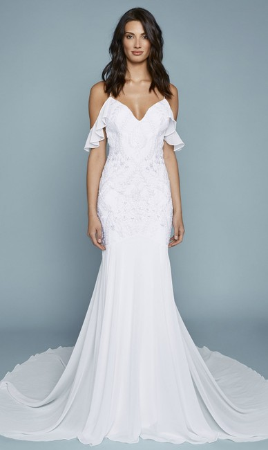Katie May Ivory Tulum Embroidered Chiffon Off Shoulder Gown Modern Wedding Dress Size 12 (L) Katie May Ivory Tulum Embroidered Chiffon Off Shoulder Gown Modern Wedding Dress Size 12 (L) Image 1