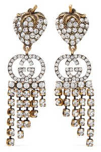 Gucci Gold-tone logo crystal earrings
