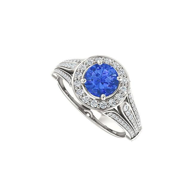 Blue Split Shank Halo Engagement with Cz Sapphire In 14k White Gold 1 Ring Blue Split Shank Halo Engagement with Cz Sapphire In 14k White Gold 1 Ring Image 1